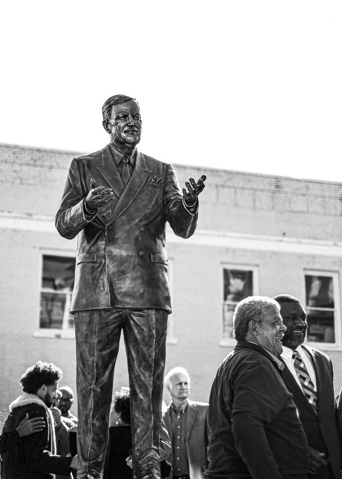 The Vernon Dahmer statue in Downtown Hattiesburg. Photo by William Pittman.