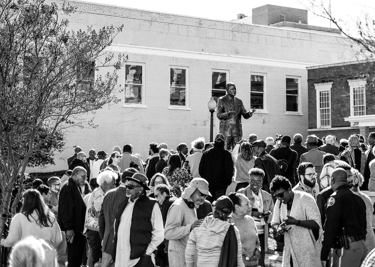 Hundreds gathered for the unveiling of the Vernon Dahmer monument in Downtown Hattiesburg. Photo by William Pittman.
